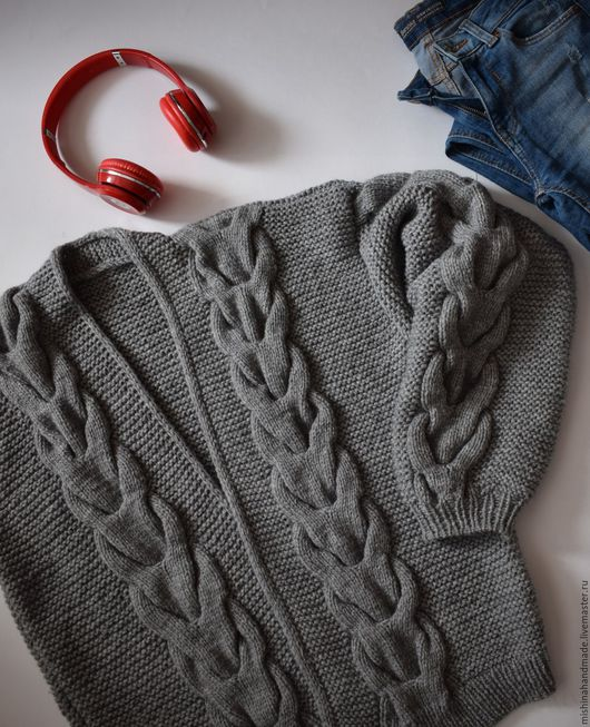 Кофты и свитера ручной работы. Ярмарка Мастеров - ручная работа. Купить Вязаный бобмер / кардиган. Handmade. Серый