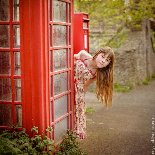 Одежда для девочек, ручной работы. Ярмарка Мастеров - ручная работа. Купить Платье сарафан для девочки широкое хлопок винтаж бежевый красный. Handmade.
