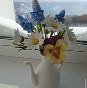 Цветы и флористика ручной работы. Ярмарка Мастеров - ручная работа Весенний букетик с ромашками, мускари и анюткой. Handmade.