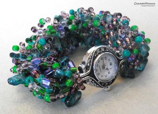 Часы ручной работы. Ярмарка Мастеров - ручная работа. Купить Часы-браслет Кисличка Бисер Украшения из натуральных  Браслеты широкие. Handmade.