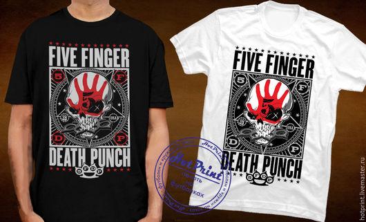 Футболки, майки ручной работы. Ярмарка Мастеров - ручная работа. Купить Five Finger Death Punch. Handmade. Музыка