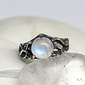 Украшения handmade. Livemaster - original item Conceptual silver ring with moonstone