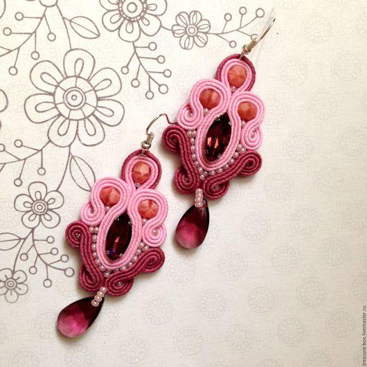 """Серьги ручной работы. Ярмарка Мастеров - ручная работа. Купить Серьги  """"Вересковое кружево"""" сутажная вышивка. Handmade. Подарок девушке"""
