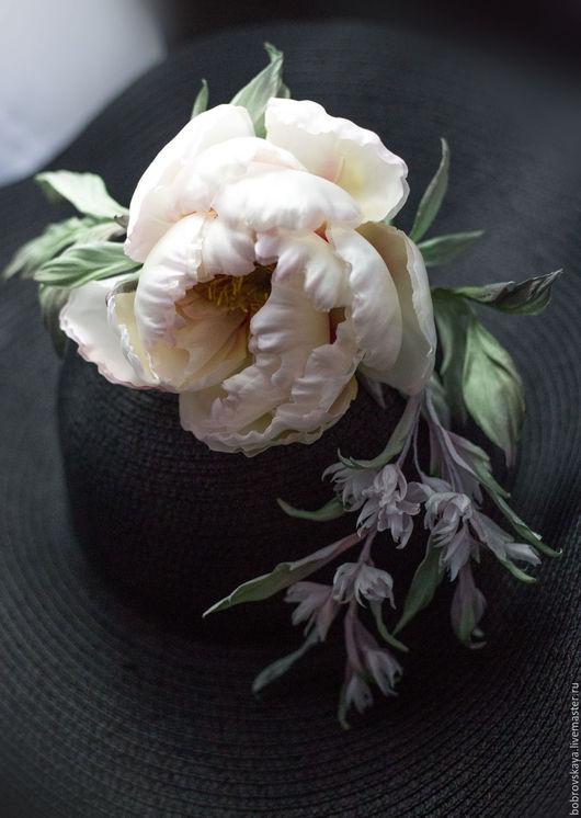 Цветы ручной работы. Ярмарка Мастеров - ручная работа. Купить Цветы из шелка Пион. Handmade. Кремовый, цветочный аксессуар