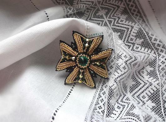 Броши ручной работы. Ярмарка Мастеров - ручная работа. Купить Брошь орден вышивка бисер мальтийский крест изумрудный EMERALD. Handmade.
