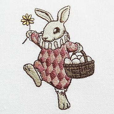 """Подарки к праздникам ручной работы. Ярмарка Мастеров - ручная работа Салфетка под тарелку с вышивкой """"Пасхальный кролик"""". Handmade."""