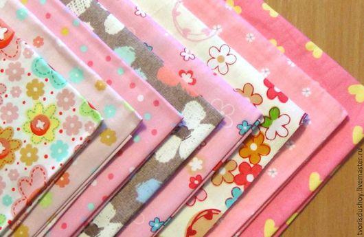 Шитье ручной работы. Ярмарка Мастеров - ручная работа. Купить Набор тканей из хлопка 8 отрезов  в розовых тонах 2. Handmade.