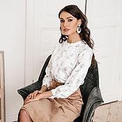Одежда handmade. Livemaster - original item White satin blouse made of Cinnamon viscose, silk blouse. Handmade.