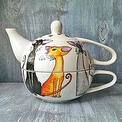 """Посуда ручной работы. Ярмарка Мастеров - ручная работа """"Кошки изящные"""" чайный набор (0741). Handmade."""