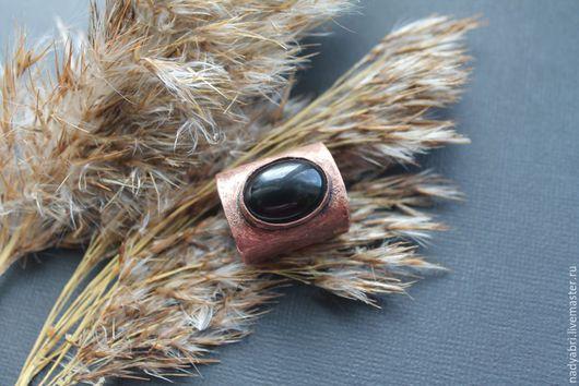 Кольца ручной работы. Ярмарка Мастеров - ручная работа. Купить Медное крупное кольцо перстень с черным агатом. Handmade.