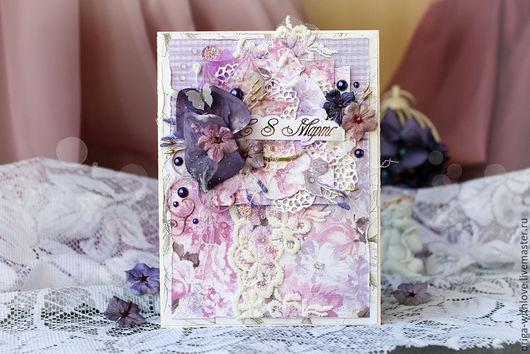 """Открытки для женщин, ручной работы. Ярмарка Мастеров - ручная работа. Купить Открытка """"Нежные цветы"""". Handmade. Сиреневый, скрап-бумага"""
