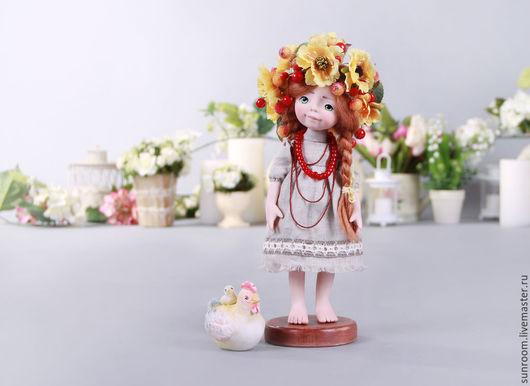 Коллекционные куклы ручной работы. Ярмарка Мастеров - ручная работа. Купить Зоряна. Handmade. Оранжевый, бусы, коллекционная кукла, текстиль