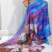 Аксессуары handmade. Livemaster - original item Stole, batik silk Irises. Handmade.