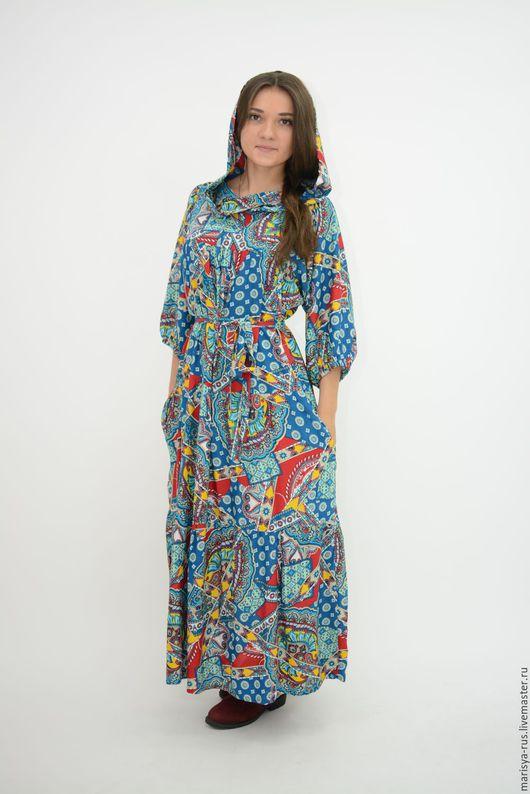 Платья ручной работы. Ярмарка Мастеров - ручная работа. Купить Платье с капюшоном. Handmade. Синий, платье в церковь