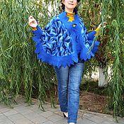 """Одежда ручной работы. Ярмарка Мастеров - ручная работа Пончо """"Ворох синих листьев"""". Handmade."""