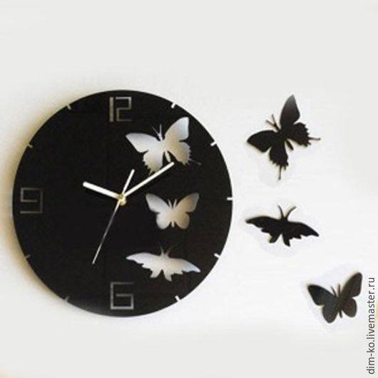 Часы для дома ручной работы. Ярмарка Мастеров - ручная работа. Купить Часы настенные из акрилового стекла Бабочки. Handmade. Комбинированный