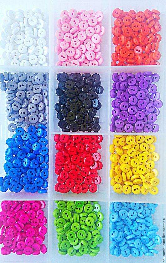 Куклы и игрушки ручной работы. Ярмарка Мастеров - ручная работа. Купить Пуговицы 6 мм мелкие пластик разноцветные. Handmade.