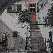 """Картины и панно ручной работы. Ярмарка Мастеров - ручная работа Картина (вышитая крестиком) """"Итальянский дворик"""". Handmade."""