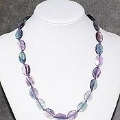 Работы для детей, handmade. Livemaster - original item Oval beads natural stone fluorite cut. Handmade.