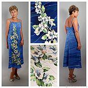 Одежда ручной работы. Ярмарка Мастеров - ручная работа Платье с открытыми плечами - Голубой - Женщины- батик. Handmade.