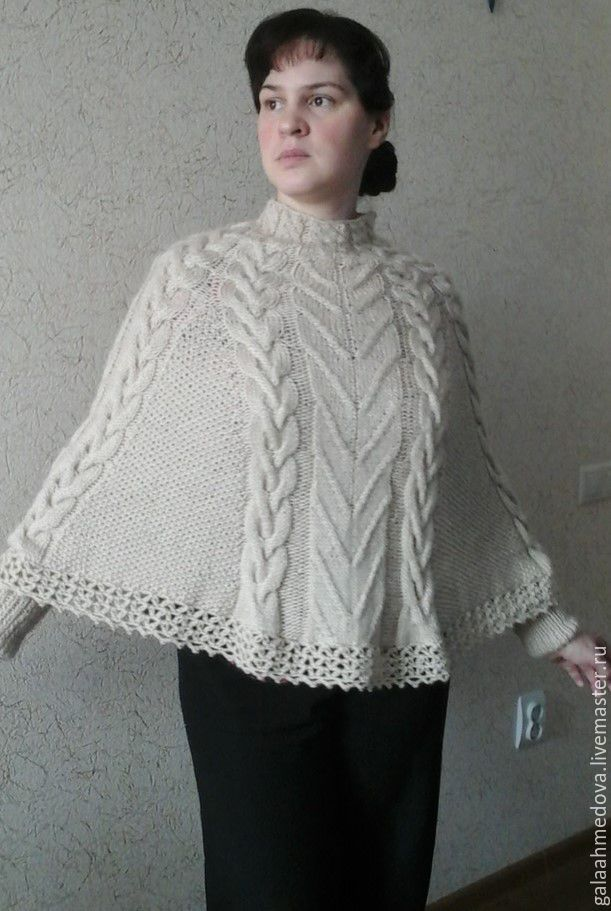 067c422a6 Knit poncho with cuffs Thaw handmade – shop online on Livemaster ...