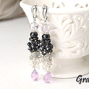 Украшения handmade. Livemaster - original item Long earrings with stones Estelle. Handmade.