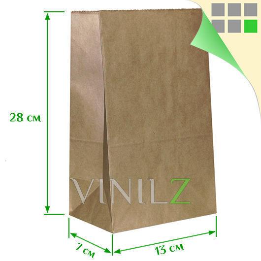 Крафт пакет (28x13х7 см) бумажный, коричневый, плоское дно
