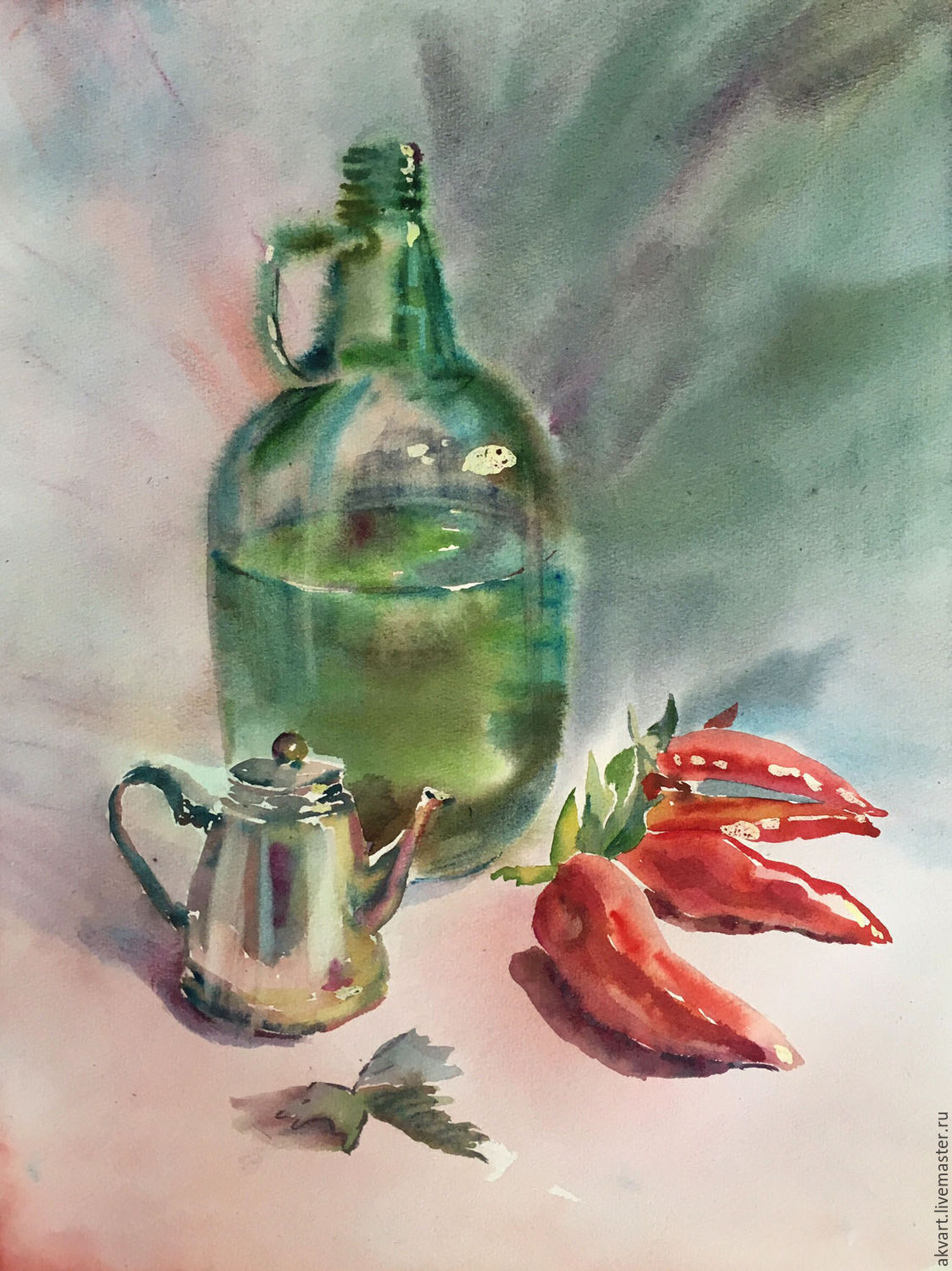 Painting watercolor. Still life. Bottle, teapot and peppers, Pictures, Moscow,  Фото №1