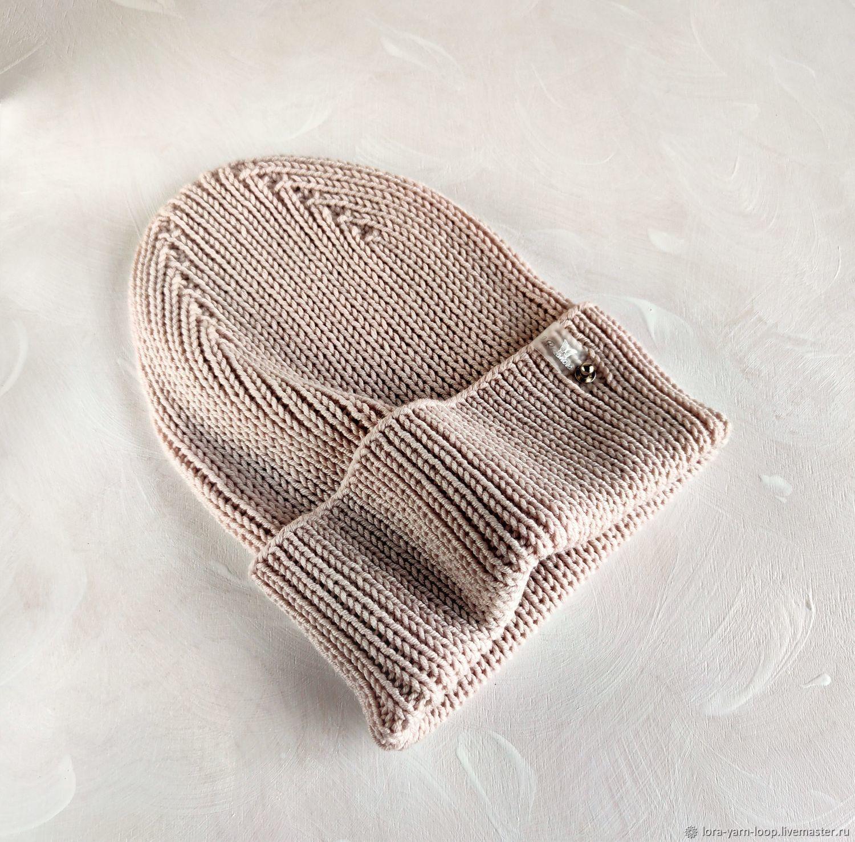 Шапка из мериноса большой размер холодный бежевый, Шапки, Кострома,  Фото №1