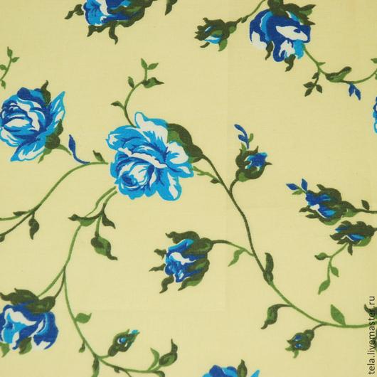 Синие розы на светло-желтом фоне. Хлопок 100%. Ткань для шитья, рукоделия. Есть в наличии.