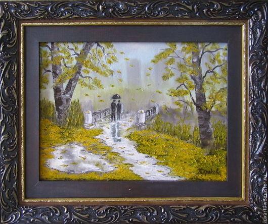 Картина маслом `Осень в Нью-Йорке`. Холст на подрамнике, мастихин. Оформлена в специально изготовленный составной сложный багет из натурального дерева.