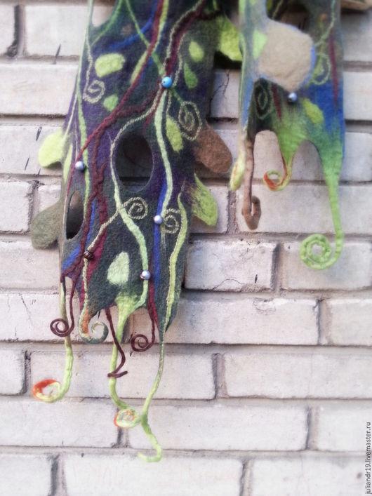 """Шарфы и шарфики ручной работы. Ярмарка Мастеров - ручная работа. Купить """"В ночь на Ивана Купалу"""", мягкий шерстяной шарф с декором. Handmade."""