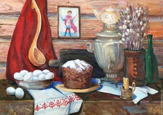 Натюрморт ручной работы. Ярмарка Мастеров - ручная работа. Купить Картина Пасхальный натюрморт. Handmade. Деревня, икона, картина на холсте