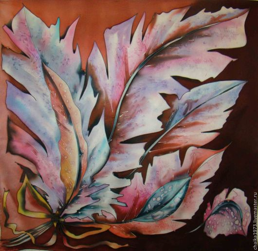 Шали, палантины ручной работы. Ярмарка Мастеров - ручная работа. Купить Перышки у птички.... Handmade. Разноцветный, подарок для женщины, атлас