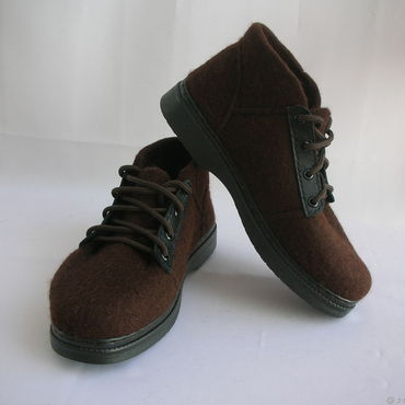 Footwear handmade. Livemaster - original item Felted shoes mens lace-up. Handmade.