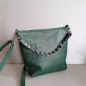 Сумки и аксессуары handmade. Livemaster - original item Leather bag. Crossbody bag. Hobo small. Crocodile Green. Handmade.