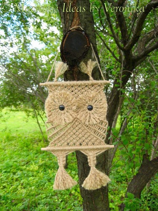 """Животные ручной работы. Ярмарка Мастеров - ручная работа. Купить """"Совёнок Руру"""", плетёное панно, макраме. Handmade. Совенок, сова"""