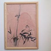 Картины и панно ручной работы. Ярмарка Мастеров - ручная работа картина Бамбук и птичка суми-е. Handmade.