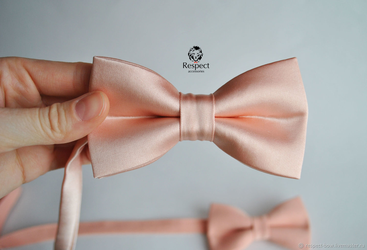 Satin tie `Peach dream` to buy for the groom and his friends to a peach wedding in Moscow, St. Petersburg, and with delivery in other cities of Russia