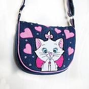 Работы для детей, handmade. Livemaster - original item Children`s handbag for girls denim shoulder. Handmade.