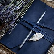 Канцелярские товары handmade. Livemaster - original item Leather notebook with long strap genuine leather crazy horse. Handmade.