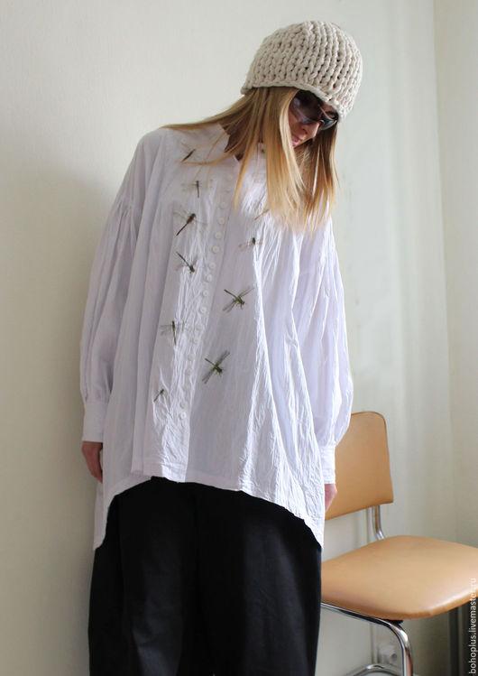 Блузки ручной работы. Ярмарка Мастеров - ручная работа. Купить Хлопковая блуза Стрекоза1. Handmade. Белый, блузка нарядная, большой размер