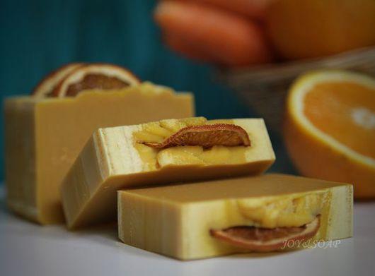 Мыло ручной работы. Ярмарка Мастеров - ручная работа. Купить АПЕЛЬСИНОВО-МОРКОВНЫЙ ФРЕШ натуральное мыло. Handmade. Оранжевый, морковь