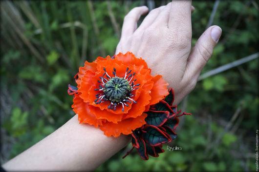 Браслеты ручной работы. Ярмарка Мастеров - ручная работа. Купить Объемные браслеты в наличии. Handmade. Комбинированный, цветы из полимерной глины