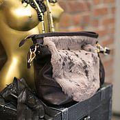 Сумки и аксессуары ручной работы. Ярмарка Мастеров - ручная работа Сумка с мехом Марсала. Handmade.