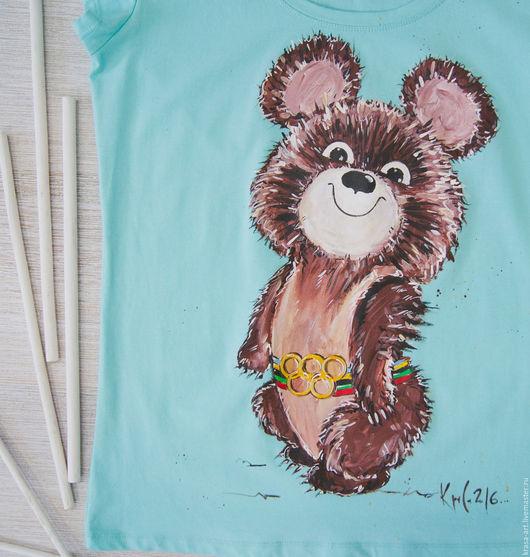 T-Shirts & Singlets handmade. Livemaster - handmade. Buy Olympic bear.Olympic mascot, bear, t-shirt custom