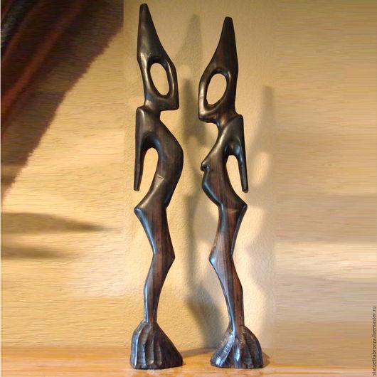 Винтажные предметы интерьера. Ярмарка Мастеров - ручная работа. Купить Африканские статуэтки, пара. Handmade. Коричневый, статуэтка, африка, инопланетный