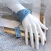 Украшения handmade. Livemaster - original item Leather winding bracelet Blue ribbon. Handmade.