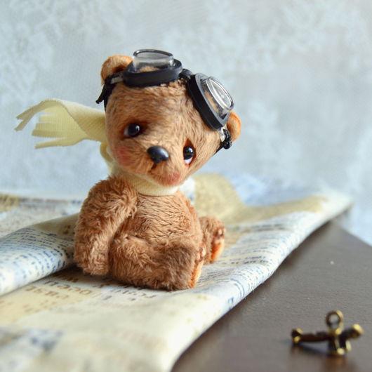 Мишки Тедди ручной работы. Ярмарка Мастеров - ручная работа. Купить Алёшка (6 см). Handmade. Бежевый, авиатор, медвежонок