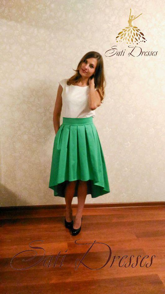 Юбки ручной работы. Ярмарка Мастеров - ручная работа. Купить Шикарная зеленая юбка. Handmade. Каскадная юбка, зеленая юбка